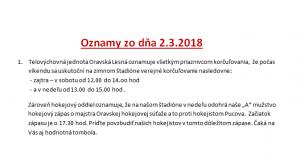 Oznamy 2.3.2018